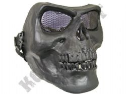 Skeleton full face airsoft safety mask with metal mesh eye protection matt black